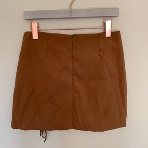 Chicwish Skirts - New lace up cognac skirt